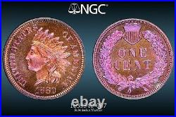1880 1C PF66 RB NGC Toned Indian Head Cent Beautiful Coin Colorful Toning GEM BU
