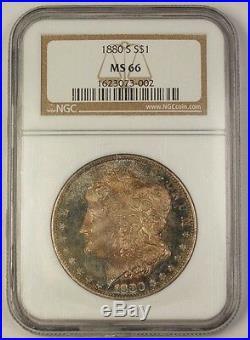 1880-S Morgan Silver Dollar $1 Coin NGC MS-66 Beautifully Toned Gem (Proof-Like)