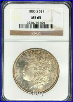 1880-s Morgan Silver Dollar Ngc Ms 65 Beautiful Coin Ref#86-001
