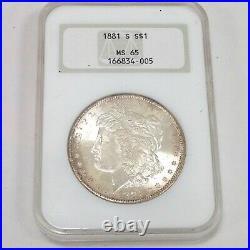 1881 S Morgan Silver Dollar NGC MS 65 Beautiful High Grade US Coin #CO672