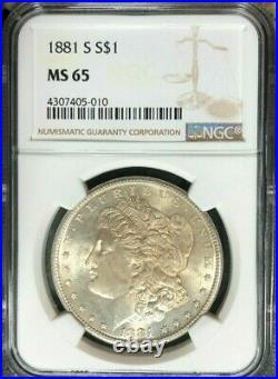 1881-s Morgan Silver Dollarngc Ms 65 Beautiful Coin Ref#05-010