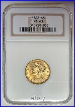 1882 $5. Gold Liberty NGC MS 63 Beautiful Coin