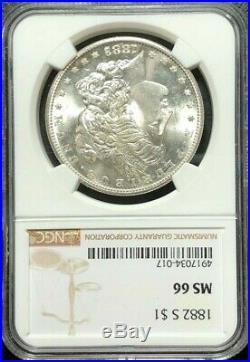 1882-s Morgan Silver Dollar Ngc Ms 66 Beautiful Coin Ref#34-017