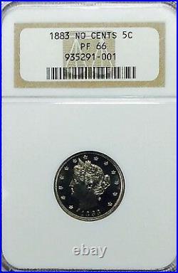 1883 Liberty V Nickel N/C NGC PF66 Beautiful GEM Proof Coin Cameo Look