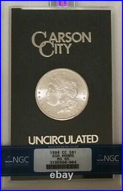 1884 CC Morgan Dollar GSA NGC MS65 GEM Beautiful White Coin Incl Box & COA