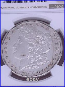 1884 S Morgan Silver Dollar NGC AU 50 Beautiful Condition $1 Coin