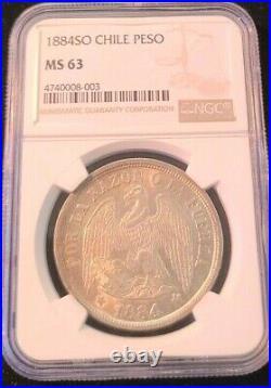 1884 So CHILE SILVER 1 PESO NGC MS 63 HIGH GRADE BEAUTIFUL SCARCE COIN