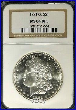 1884-cc Morgan Silver Dollar Ngc Ms 64 Dpl Beautiful Coin Ref#004