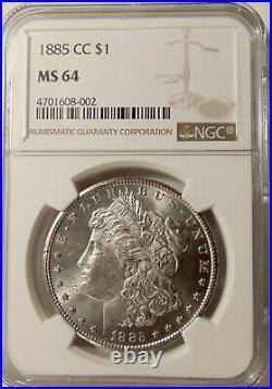 1885-CC Morgan Silver Dollar NGC MS64 Scarce KEY Date -Beautiful Ch BU Coin