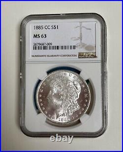 1885 CC Morgan Silver Dollar, NGC MS 63, Beautiful Old Carson City Mint Coin