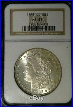 1885-cc Morgan Silver Dollar Ngc Ms 62 Beautiful Coin