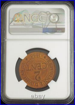 1886, Haiti (Republic). Beautiful Bronze 2 Centimes Coin. Pop 9/3! NGC MS-65