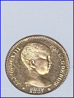 1887-62 Spain 20-p Pesetas Gold Coin 1962 Restrike Gem Rare Beauty