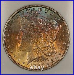 1887 Morgan Silver Dollar $1 Coin NGC MS-63 Beautifully Toned Obverse (13J)