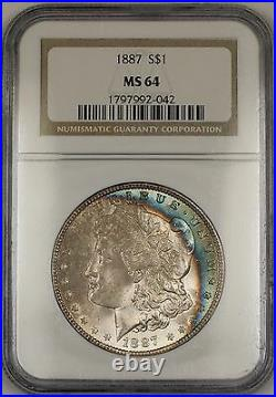 1887 Morgan Silver Dollar $1 Coin NGC MS-64 Beautifully Toned Rim (13c)