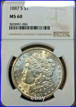 1887 S Morgan Silver Dollar NGC MS 60 Really Beautiful Coin