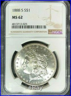 1888-s Morgan Silver Dollar Ngc Ms 62 Beautiful Looking Coin Ref#025