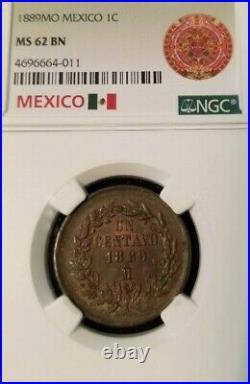 1889 Mo MEXICO 1C UN CENTAVO NGC MS 62 BN SCARCE HIGH GRADE BEAUTIFUL COIN