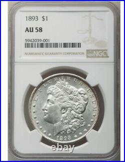 1893 P Morgan Silver Dollar NGC AU58 Beautiful Coin. Hard Date