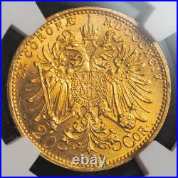 1894, Austria, Franz Josef I. Beautiful Gold 20 Corona Coin. (6.78gm!) NGC MS62
