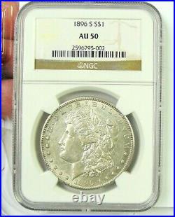 1896 S Morgan Silver Dollar, AU 50 NGC, Beautiful Coin