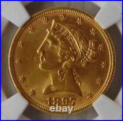 1897 Liberty Head Gold $5 Dollar Half Eagle, NGC MS 64, Beautiful Coin