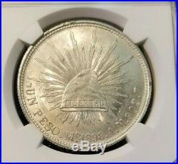 1898 Mo AM MEXICO SILVER UN PESO RESTRIKE NGC MS 64 HIGH GRADE BEAUTIFUL BU COIN