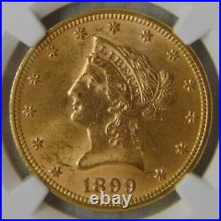 1899 Liberty Head $10 Dollar Gold Eagle, NGC MS 62, Beautiful Coin