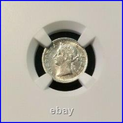 1899 Straits Settlements Silver 5 Cents Queen Victoria Ngc Ms 62 Beautiful Coin