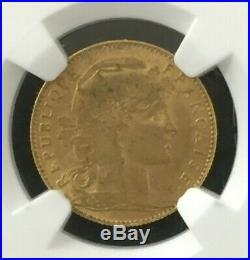 1900 France French 10 Francs Gold Coin Graded NGC AU 53 Beautiful Coin #CO582