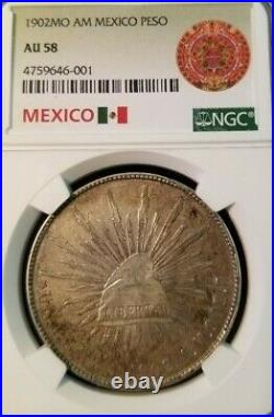 1902 Mo AM MEXICO SILVER PESO NGC AU 58 BEAUTIFUL NATURAL SURFACES GREAT COIN