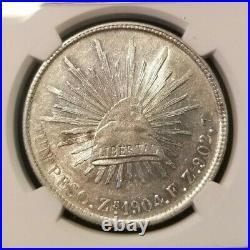 1904 Zs FZ MEXICO SILVER UN PESO NGC MS 60 BRIGHT LUSTER BEAUTIFUL COIN
