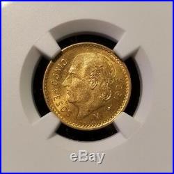 1906 M Mexico Gold 5 Pesos G5p Ngc Ms 63 Beautiful Bright Original Luster