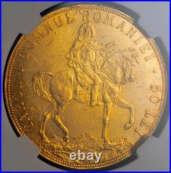 1906, Romania (Kingdom), Carol I. Beautiful Large Gold 50 Lei Coin. NGC AU-58