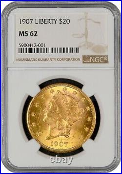 1907 $20 Liberty Gold Coin NGCMS62 -LOOKS UNDERGRADED-SHINY BLAZER! BEAUTIFUL