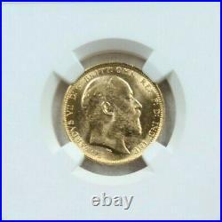 1907 Australia Gold 1 Sovereign Edward VII Ngc Ms 62 Beautiful Bright Luster