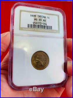 1909 Indian Head Penny MS-65 RB Red Brown Graded By NGC Coin Beautiful