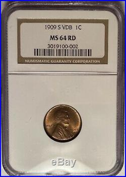 1909-s Vdb Key Date Lincoln Cent Ngc Ms64 Red Beautiful, Original Coin