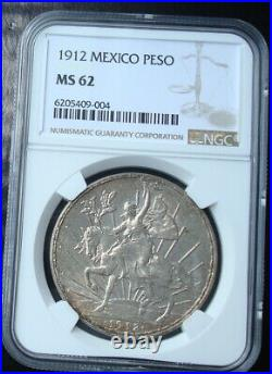 1912 Mexico $1 peso silver Beautiful coin Uncirculated NGC 62
