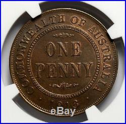 1913 Australia Penny Coin George V KM# 23 NGC MS63 BN BEAUTY