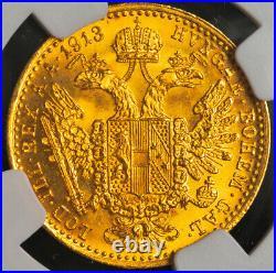 1913, Austria (Empire), Francis Joseph I. Beautiful Gold Ducat Coin. NGC MS-63