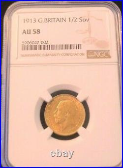 1913 Great Britain Gold 1/2 Sovereign George V Ngc Au 58 Beautiful Smooth Coin