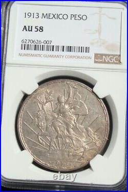 1913 Mexico $1 peso silver Beautiful coin AU NGC 58