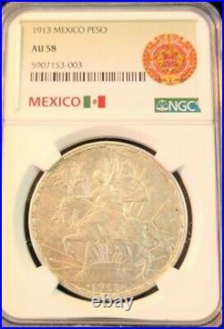 1913 Mexico Silver 1 Peso Caballito Ngc Au 58 Scarce High Grade Beautiful Coin