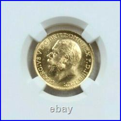 1915 Australia Gold 1 Sovereign George V Ngc Ms 63 Beautiful Luster Bright Coin