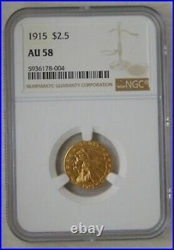 1915 GOLD $2.5 INDIAN HEAD QUARTER EAGLE, NGC AU58 Beautiful Coin