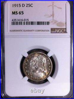 1915-d Barber Silver Quarter Ngc Ms 65 Beautiful Coin
