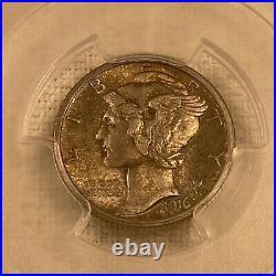 1916 S 10C Mercury Silver Dime PCGS MS65-FB Full Split Bands Beautiful Coin