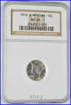 1916-S U. S. Mercury Dime Graded NGC MS62 Beautiful Coin