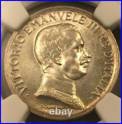 1917 1 Lire Lira Italy Rome NGC MS 62 Quadriga Beautiful Coin